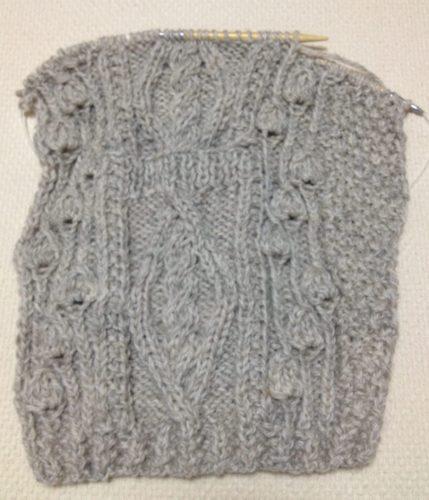 アランの襟つきカーディガン-3【きょうの編みもの】