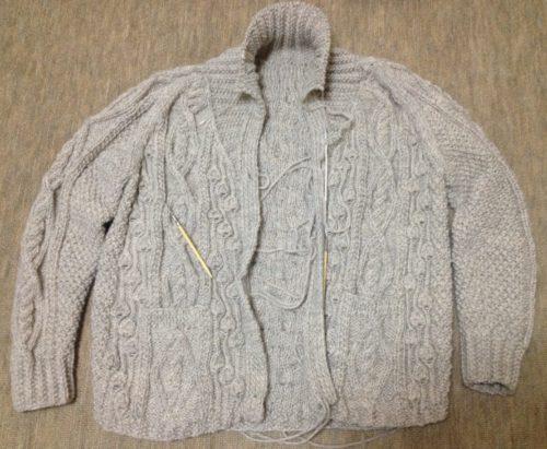 アランの襟つきカーディガン-5【きょうの編みもの】