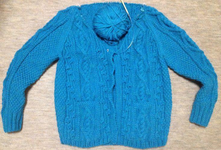 アランの襟つきカーディガン2-5【きょうの編みもの】