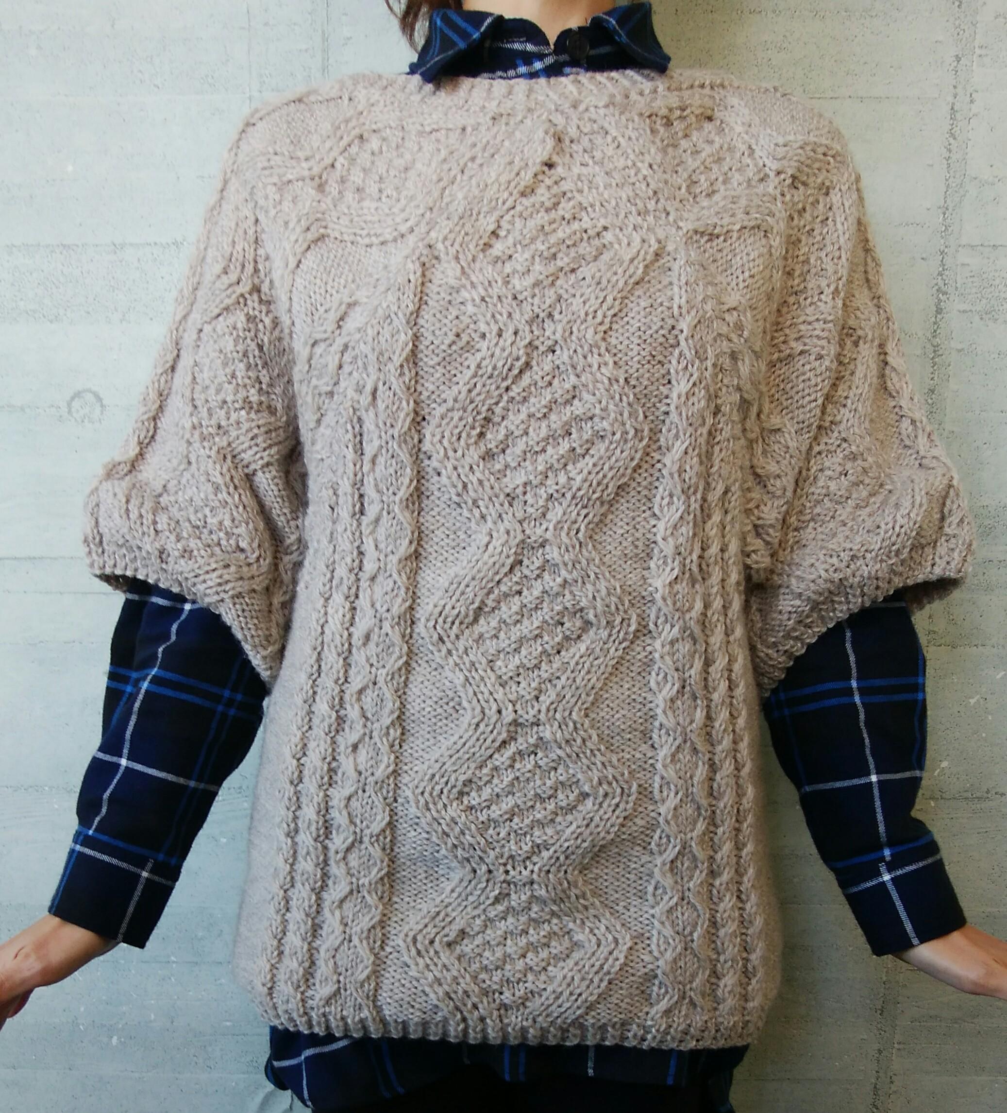 ボートネックアランセーター【冬の日の編みもの】