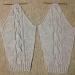 アランの襟つきカーディガン-4【きょうの編みもの】