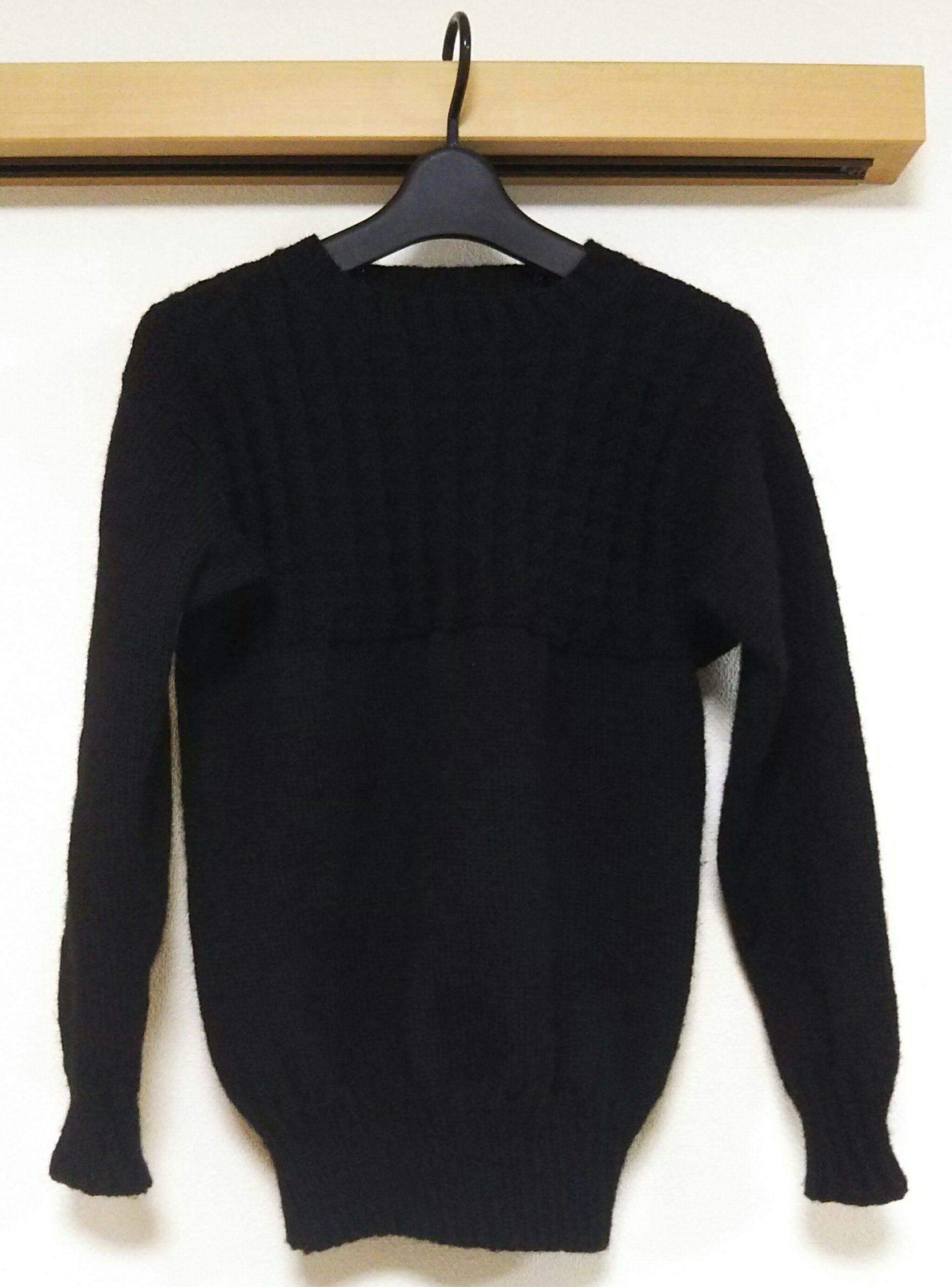 【完成】黒のガンジーセーター-3【編みものともだち】